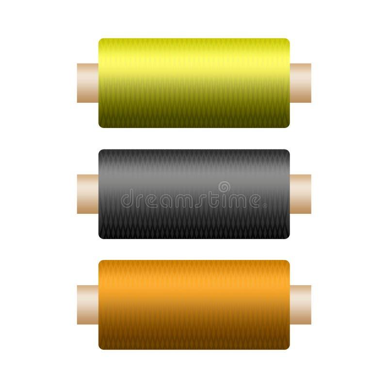 Tr?s bobinas coloridas com uma linha em um fundo branco foto de stock