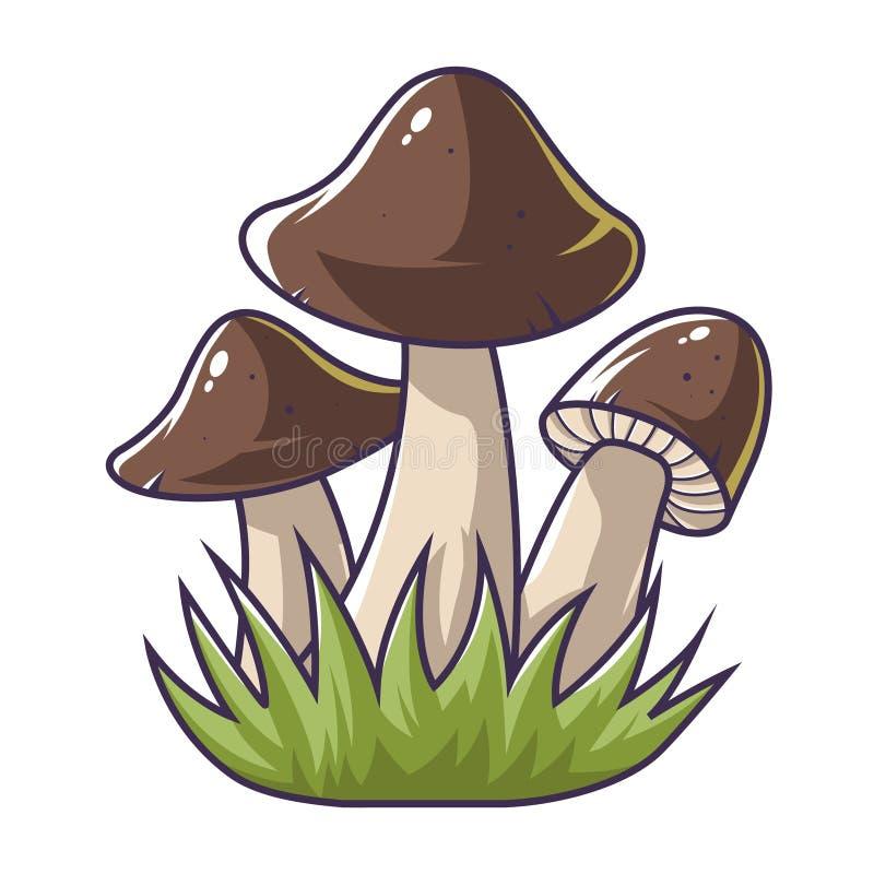 Tr?s cogumelos na grama ilustração stock