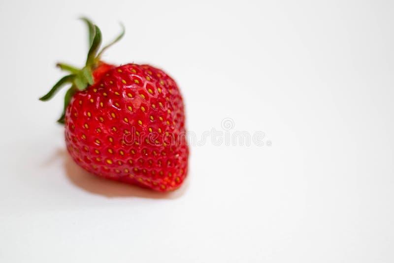 Tr?s morangos vermelhas com caudas verdes encontram-se em um fundo branco, em torno da sombra macia fotografia de stock royalty free