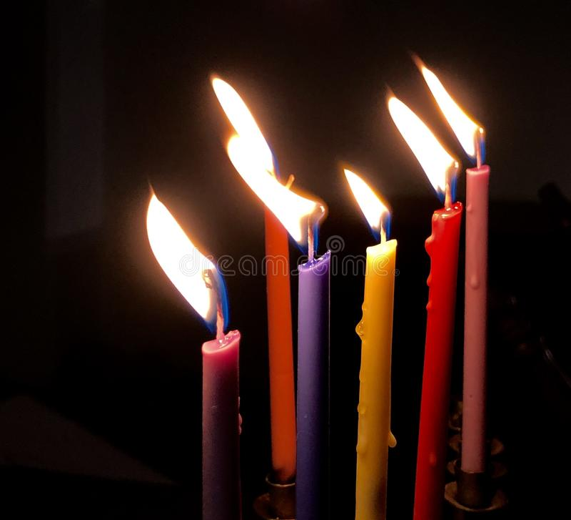 Tr?s velas do Hanukkah foto de stock