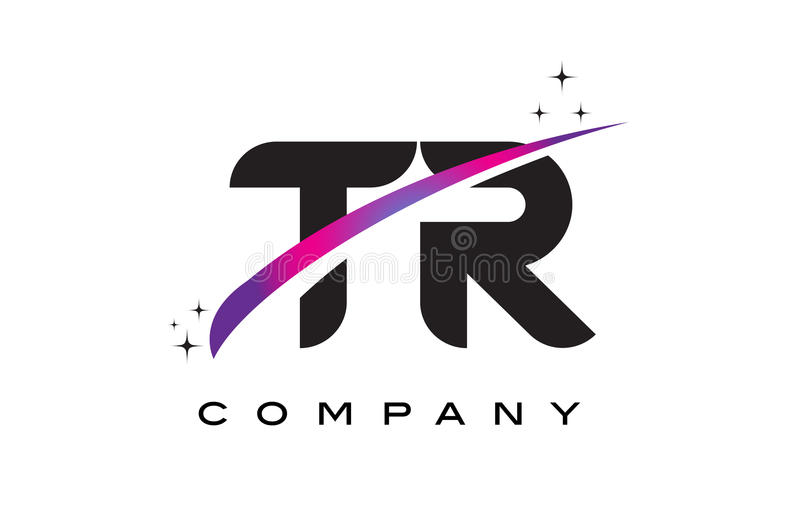 TR T R Black Letter Logo Design with Purple Magenta Swoosh. And Stars vector illustration