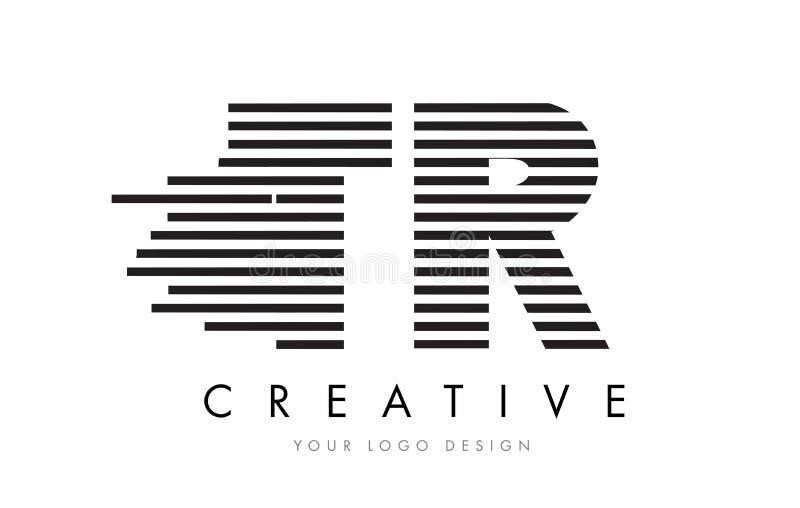 TR T R Zebra Letter Logo Design with Black and White Stripes stock illustration