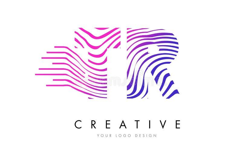 TR T R Zebra Lines Letter Logo Design with Magenta Colors stock illustration