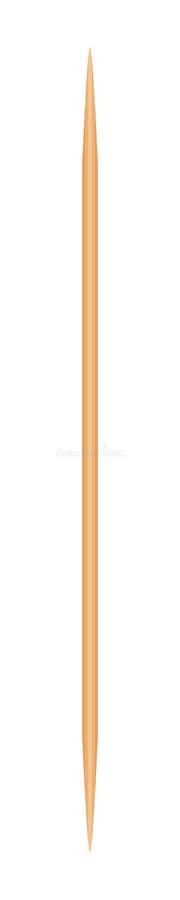 Tr?tandpetare som isoleras p? vit bakgrund, skarpt f?r bambutandpetare litet realistiskt tandpetaretr? royaltyfri illustrationer