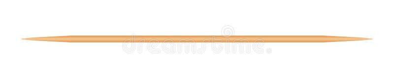 Tr?tandpetare som isoleras p? vit bakgrund, skarpt f?r bambutandpetare litet realistiskt tandpetaretr? stock illustrationer