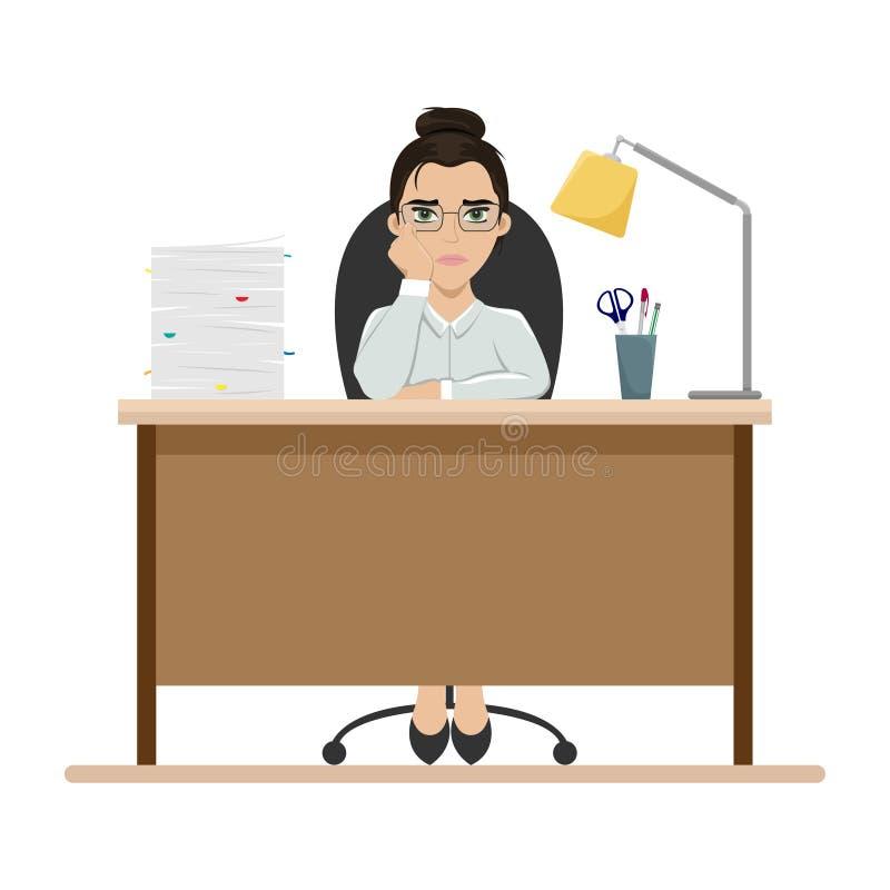 Tr?tt flicka p? arbete p? kontorstabellen gr?n kontorsarbetare f?r bakgrund _ Plan vektorillustration stock illustrationer