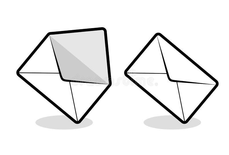 Tração aberta e próxima dos envelopes ilustração royalty free