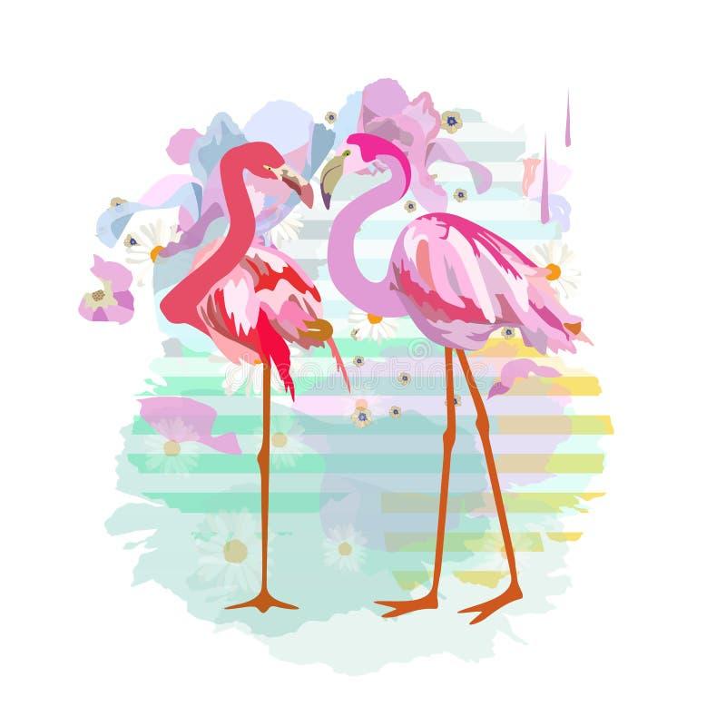 Tração abstrata da aquarela de dois flamingos vermelhos cor-de-rosa ilustração royalty free