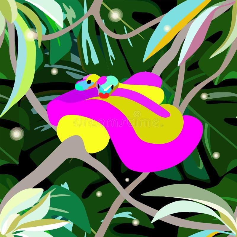 Tração abstrata da aquarela duas serpentes pitão, vaga-lume ilustração royalty free