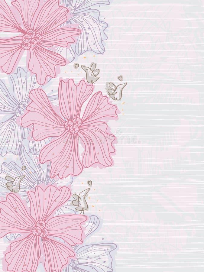 A tração alinha o cartão do lado do pássaro da flor ilustração stock