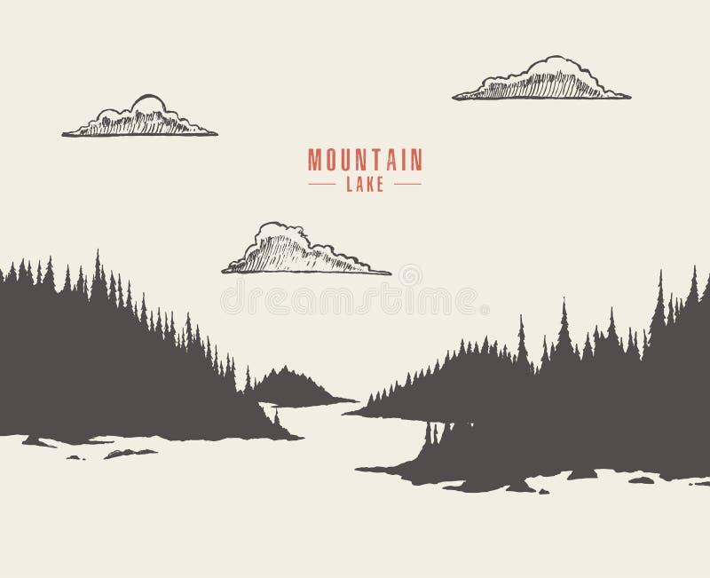 Tração da floresta do pinho do lago da montanha da ilustração do vetor ilustração do vetor