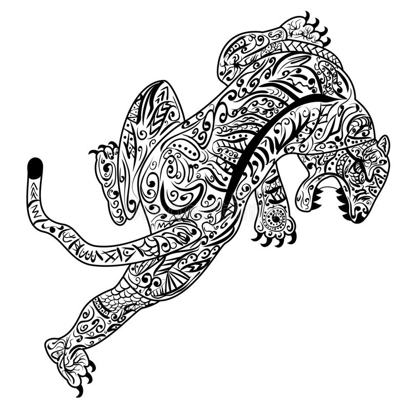 Tração da mão do tigre no estilo do zentangle ilustração royalty free