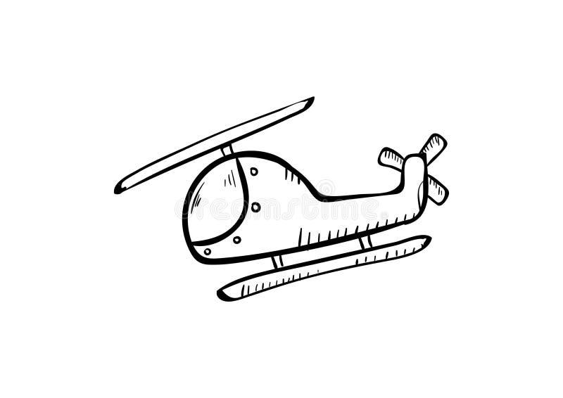 Tração da mão do vetor do ícone da garatuja do helicóptero ilustração royalty free