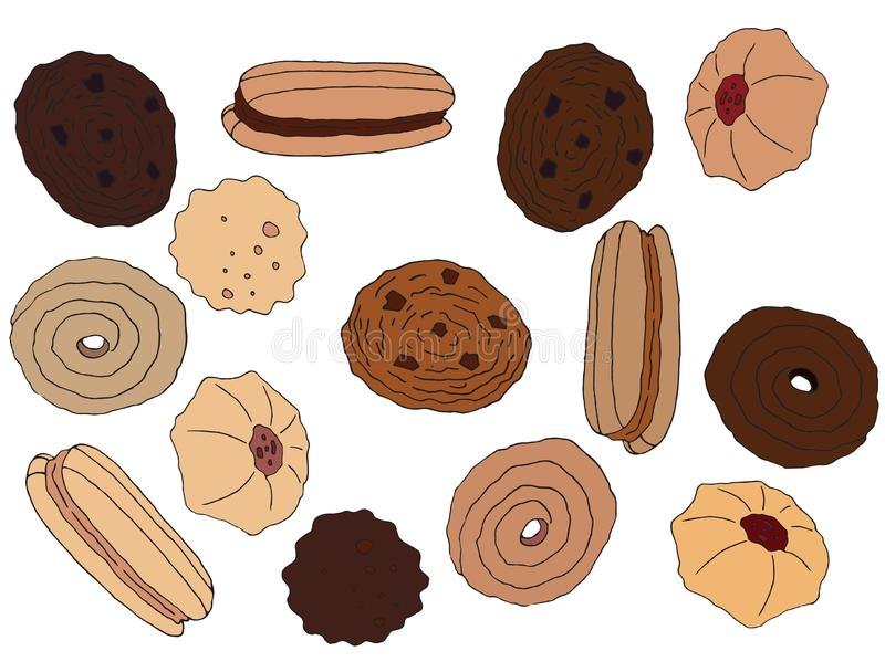 A tra??o da m?o dos desenhos animados coloriu a dieta do caf? do chocolate do grupo da arte das cookies saboroso ilustração royalty free