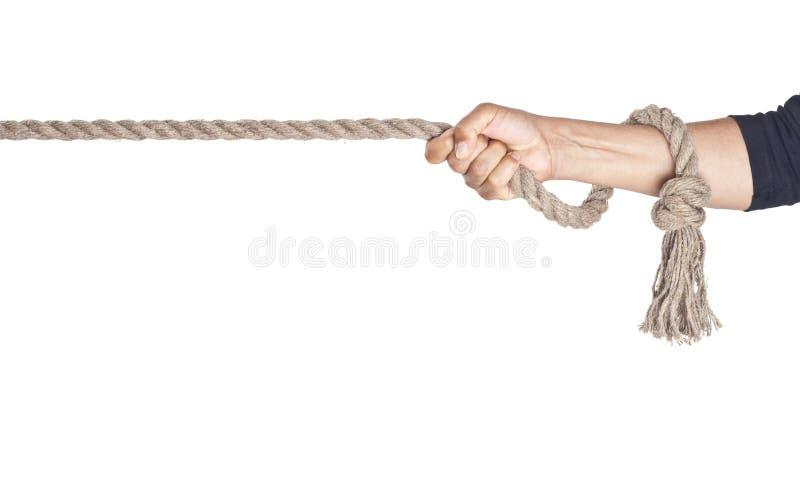 Tração da mão uma corda fotografia de stock royalty free