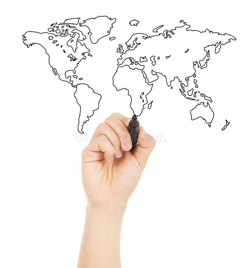 Tração da mão uma imagem do conceito sobre o mapa do mundo fotos de stock