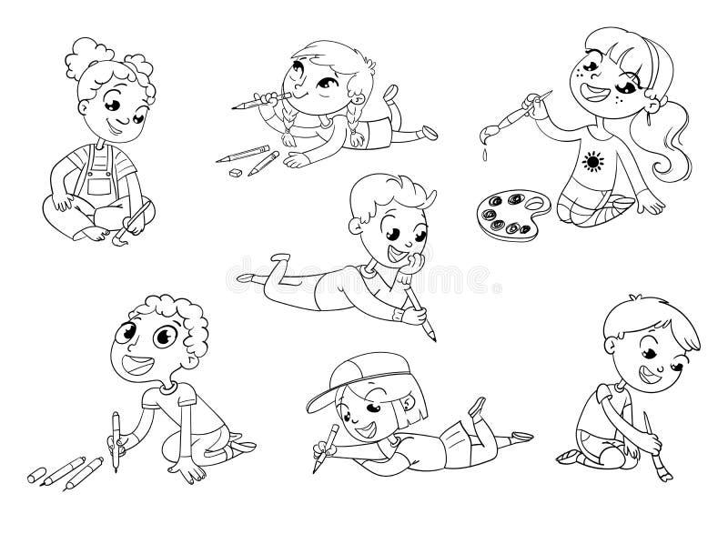 A tração das crianças pequenas representa lápis e pinturas ilustração do vetor