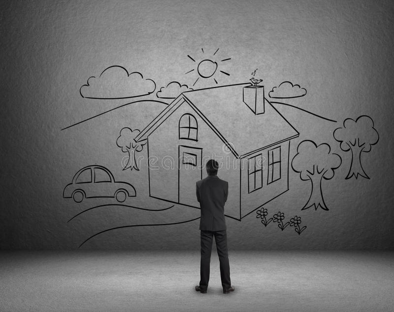 Tração do homem de negócios uma casa na parede ilustração stock