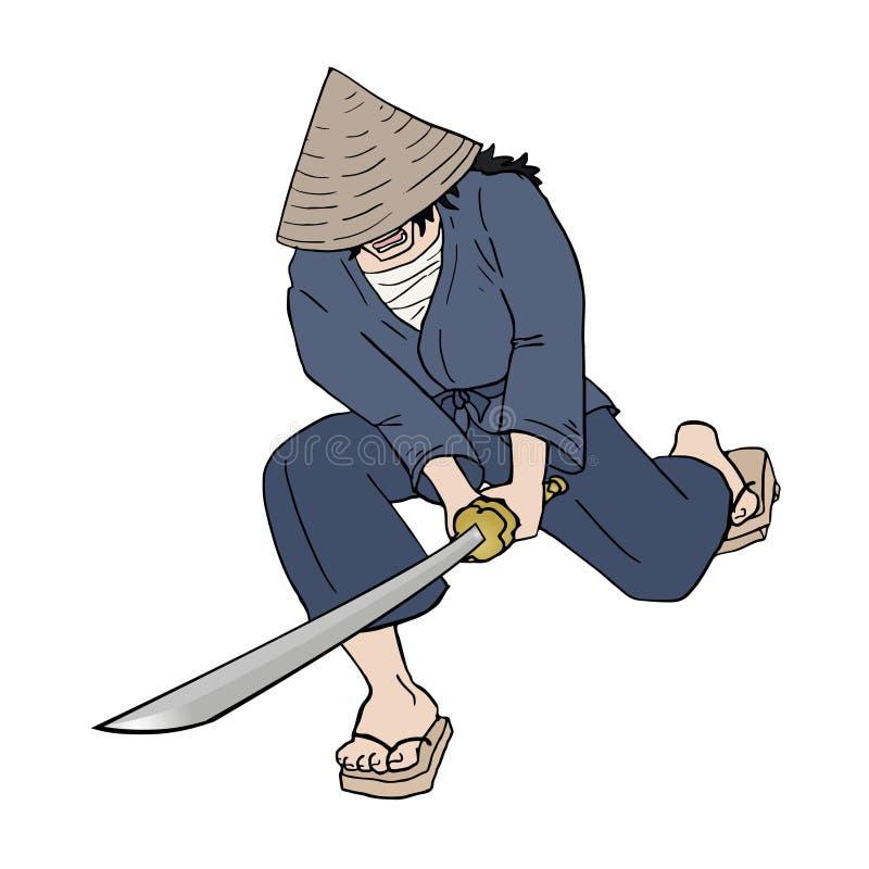 Tração do samurai ilustração royalty free