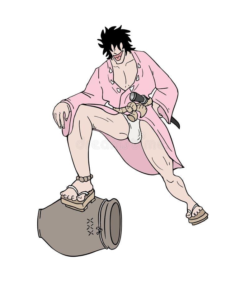 Tração engraçada do samurai ilustração do vetor
