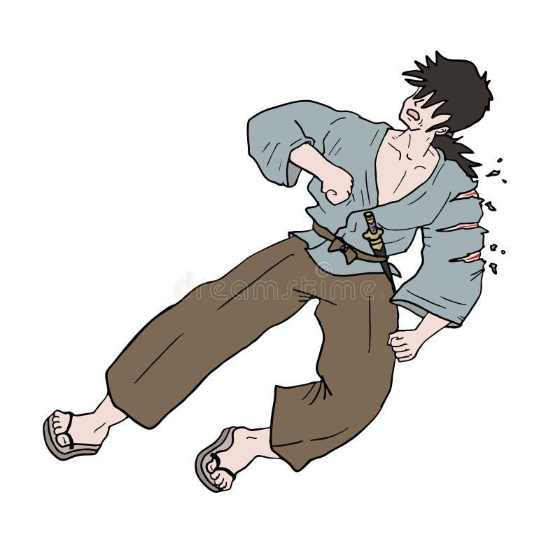 Tração ferida do samurai ilustração royalty free