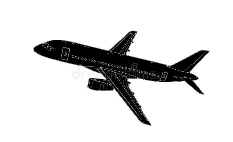 Tração técnica do vetor do avião de passageiros moderno do russo foto de stock
