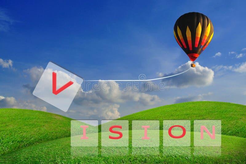 Tração V do balão de ar quente da visão da palavra ilustração do vetor