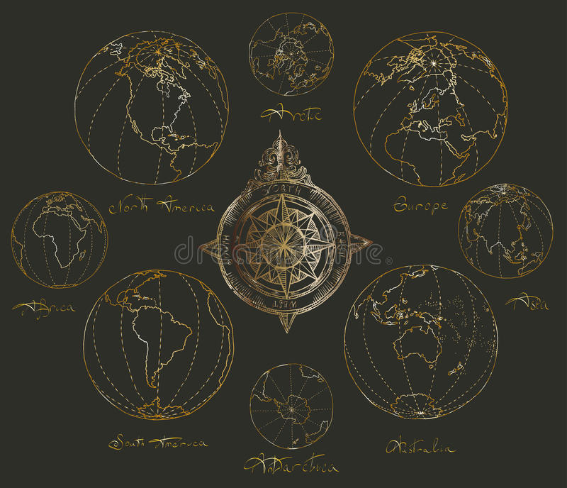 Traça continentes do atlas fotos de stock royalty free