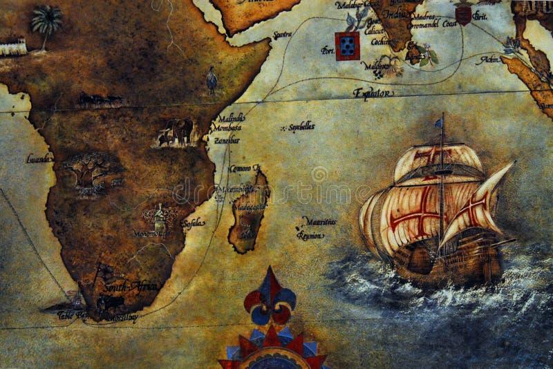 TRAÇA o mapa antigo de África e de Ásia ilustração stock