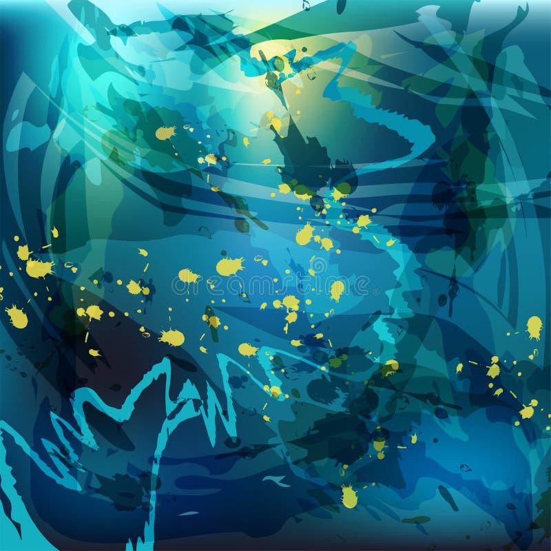 Traçages chaotiques de fond abstrait dans des tons bleus illustration libre de droits
