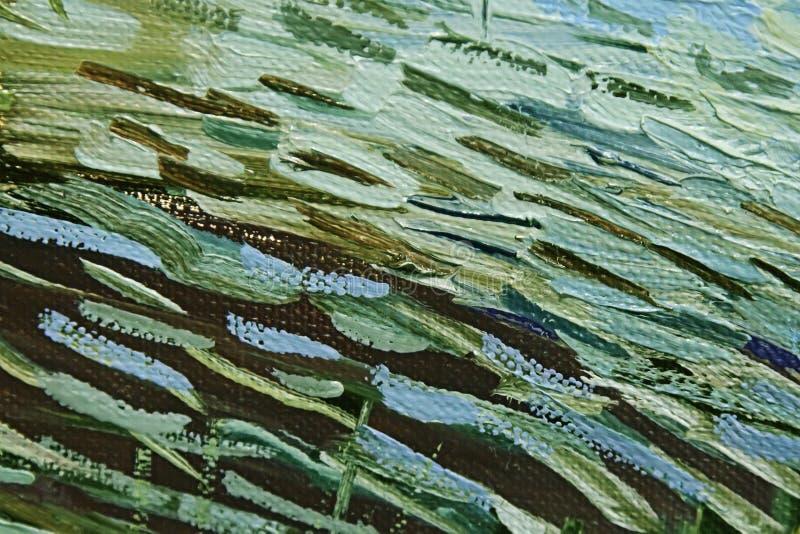 Traçages colorés de peinture à l'huile verte et brune sur la toile abrégez le fond images stock