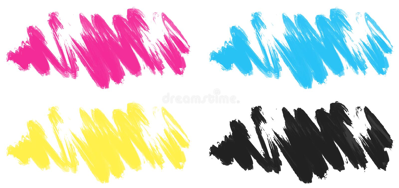 Traçages dans quatre couleurs illustration libre de droits