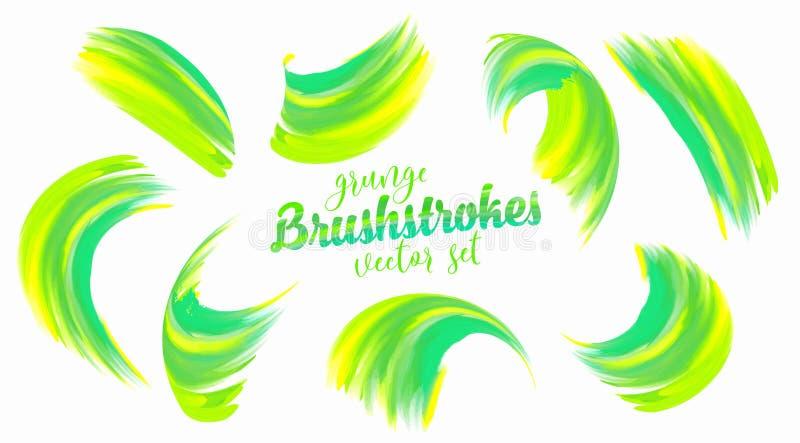 Traçages verts et jaunes de vecteur de peinture réglés illustration stock