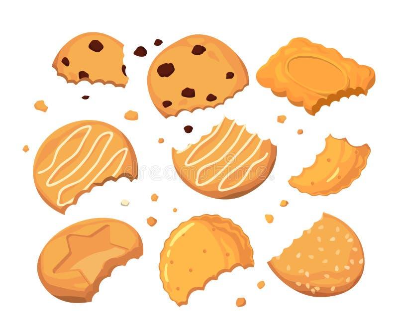 Traços das picadas nas cookies e nas migalhas pequenas diferentes Grupo da ilustração do vetor dos desenhos animados ilustração do vetor