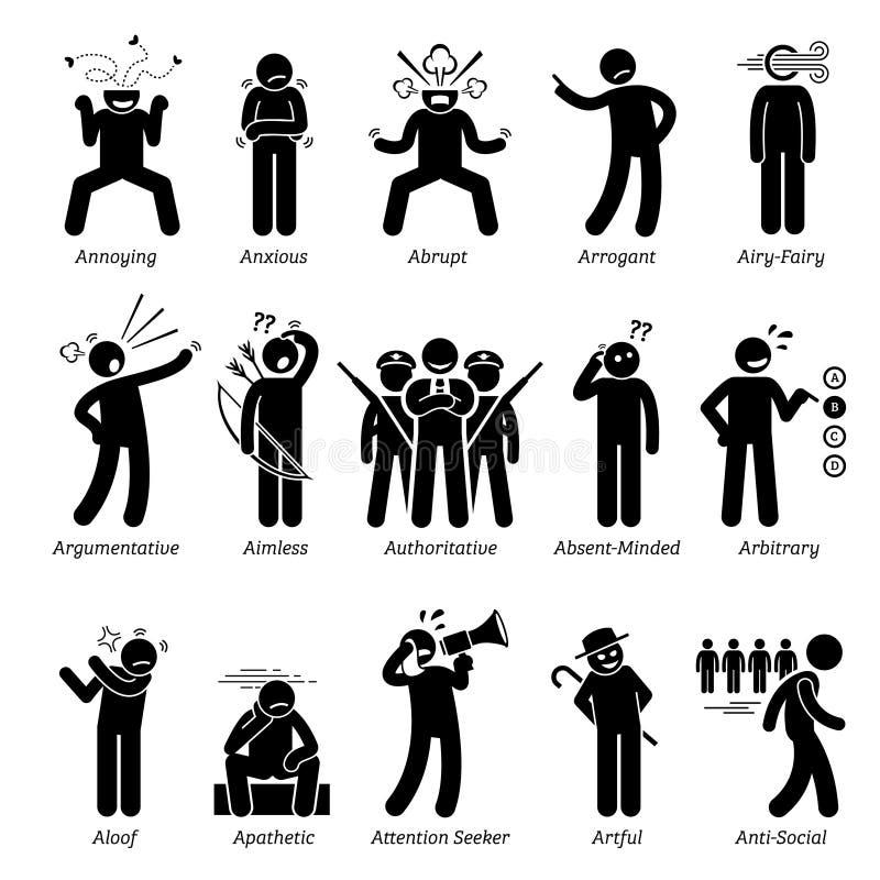 Traços de caráter maus negativos Clipart das personalidades ilustração royalty free