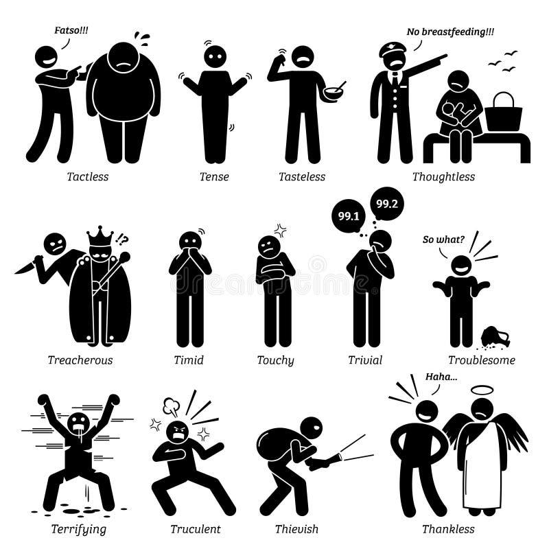 Traços de caráter negativos Clipart das personalidades ilustração royalty free