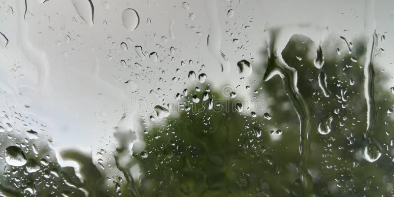 Tra?os de chuva do ver?o no vidro fotografia de stock royalty free
