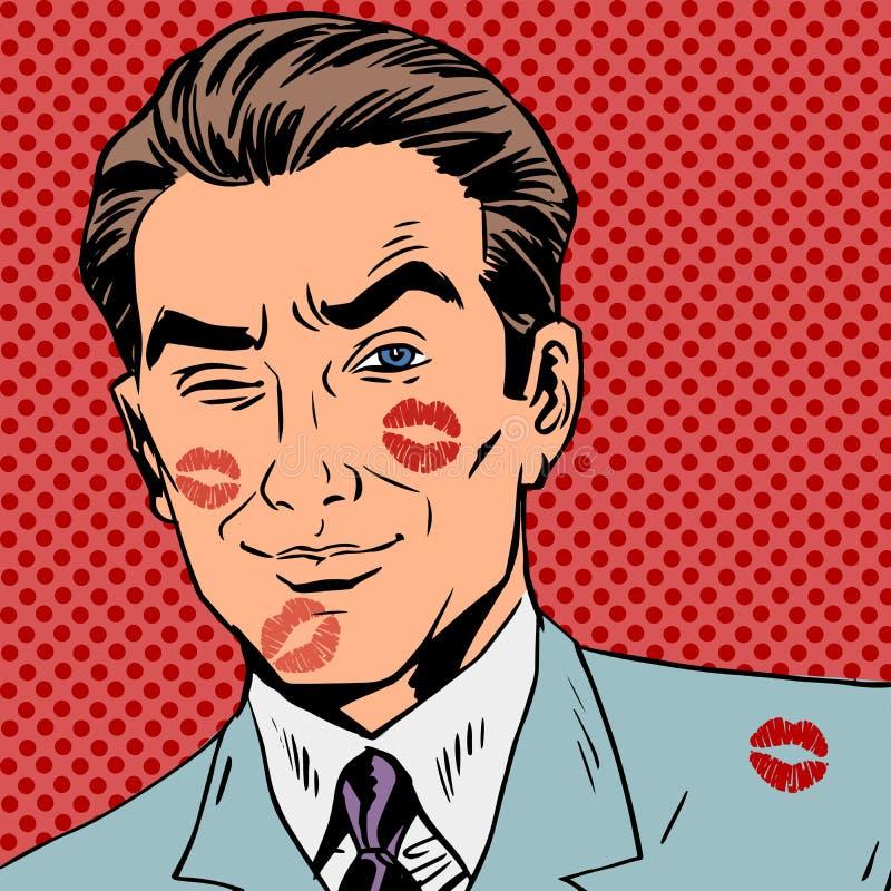 Traços de um beijo no pop art da cara do homem retro ilustração stock