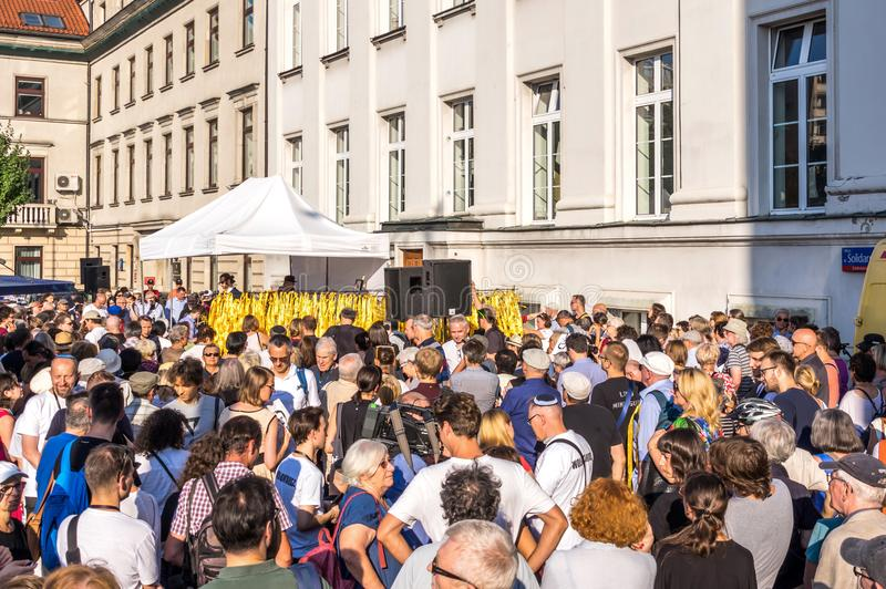 Traços de Varsóvia judaica - o março da relembrança 2018 imagem de stock royalty free