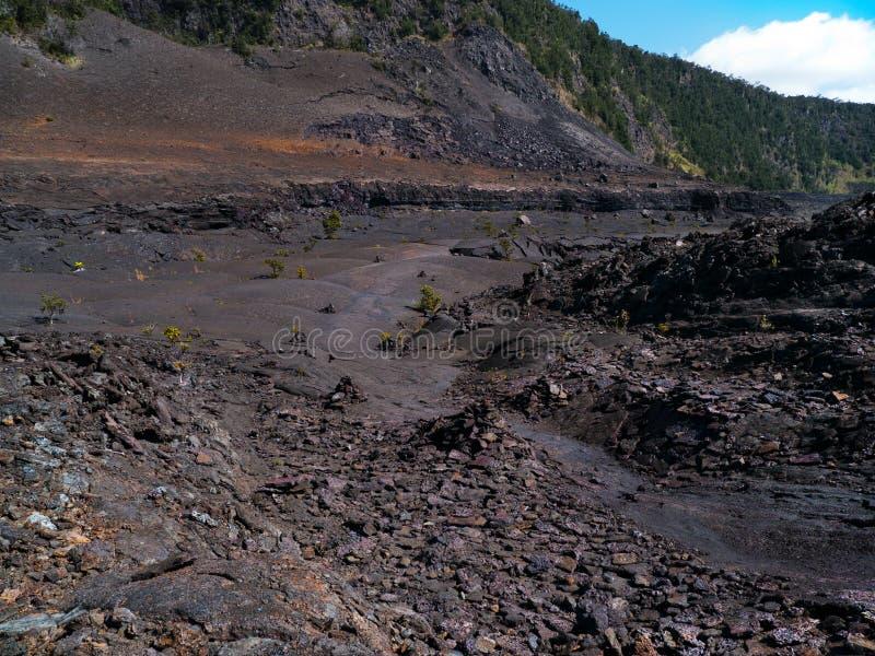 Traînée à l'intérieur du cratère de Kilauea Iki images libres de droits