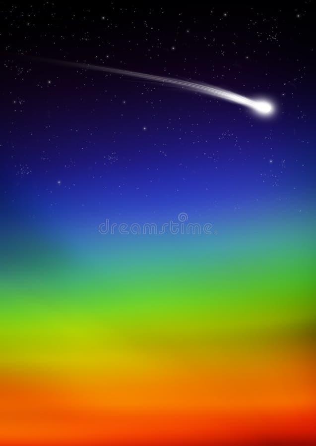 Traînée d'étoile filante avec le gradient de couleur d'arc-en-ciel - ciel étoilé illustration de vecteur