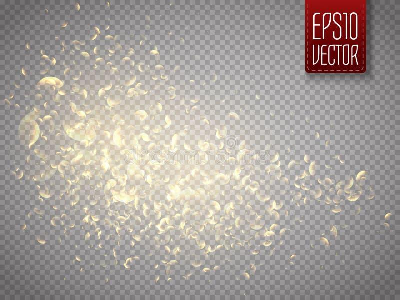 Traînée d'or de la poussière d'étoile de vecteur Particules d'éclat Nuage de poussière illustration de vecteur