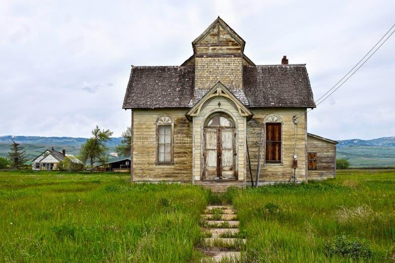 Traînée de l'Orégon, Ovid, Idaho, ancienne église mormone images libres de droits