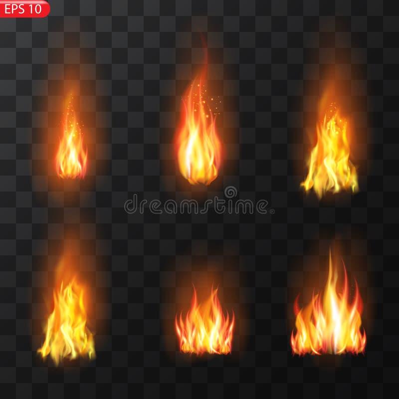 Traînée du feu Effet spécial d'éléments translucides brûlants de flammes Le feu brûlant réaliste flambe l'effet de vecteur illustration stock