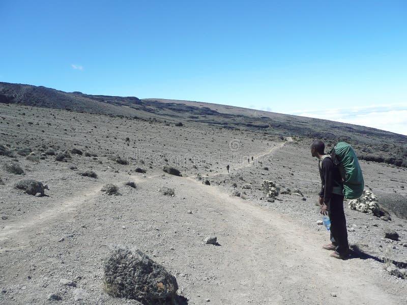 Traînée poussiéreuse sur les hautes plaines de Kilimanjaro photographie stock libre de droits