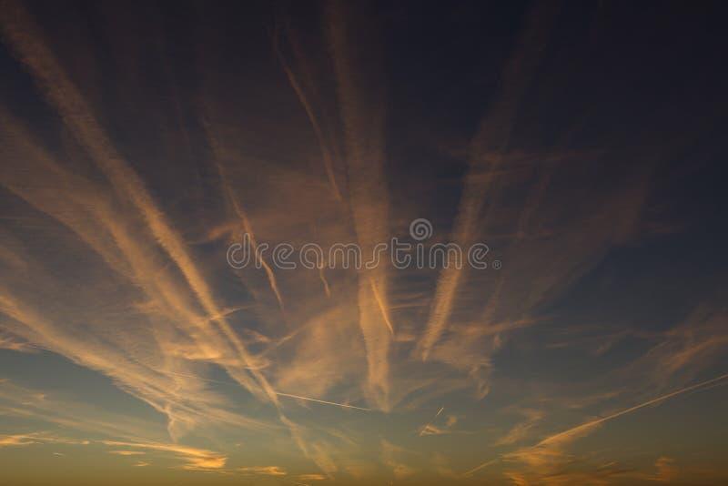 Traînées d'avion de matin photo libre de droits