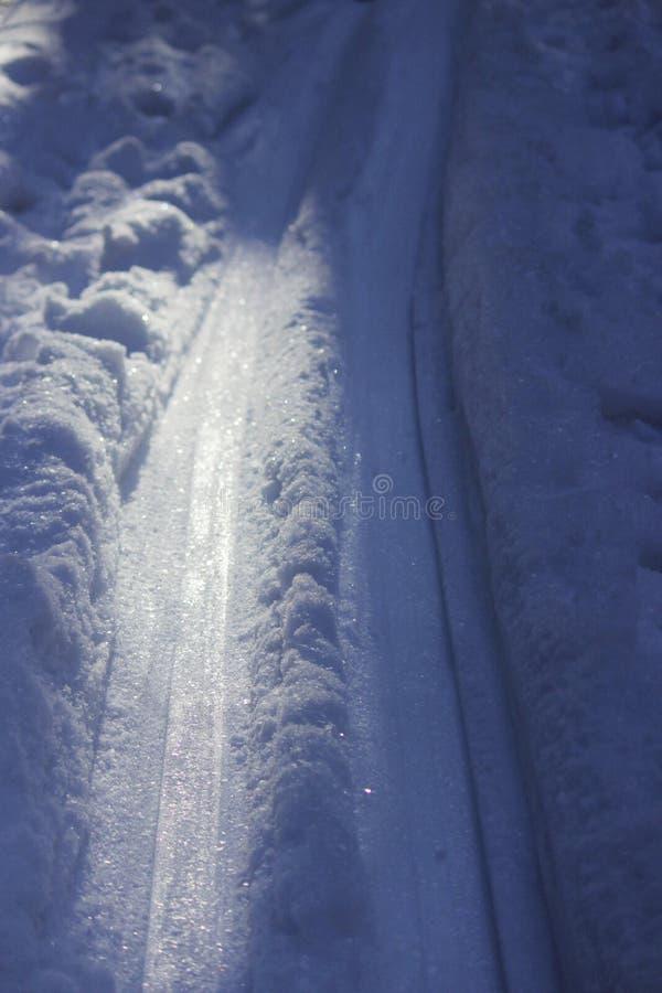 traînées roulées dans la forêt d'hiver dans la neige, le soir Russie images libres de droits