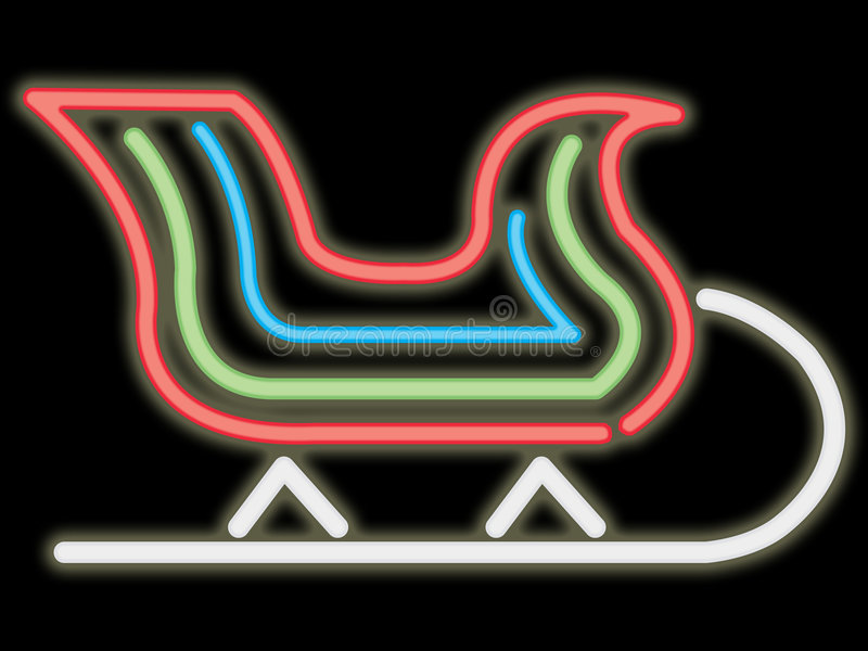 Traîneau au néon illustration de vecteur