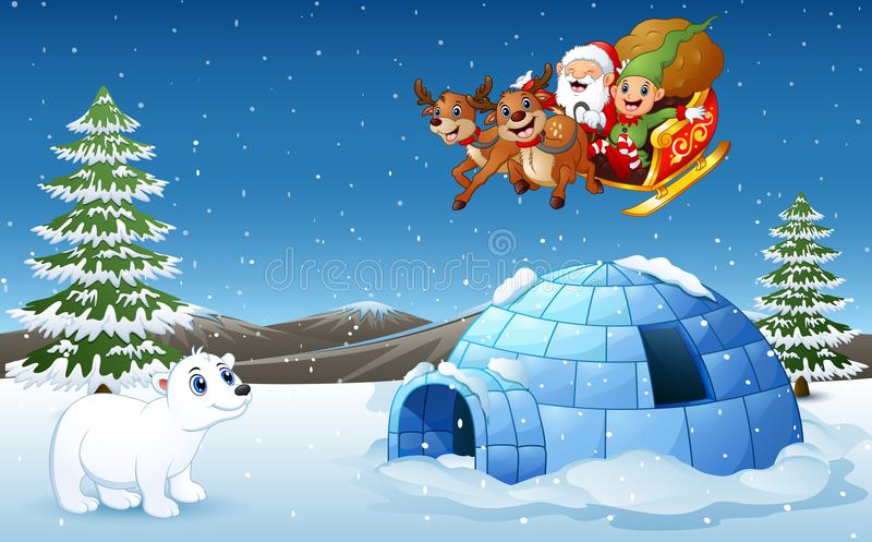 Traîneau de cerfs communs d'équitation de Santa Claus et d'elfe volant au-dessus de la colline avec l'ours blanc et l'igloo illustration de vecteur