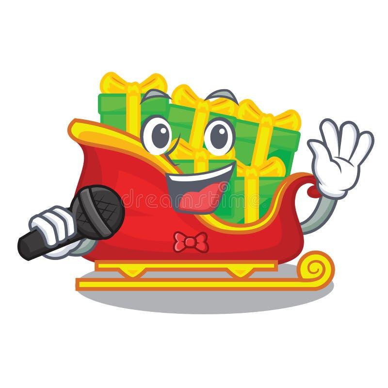 Traîneau de chant Santa avec des cadeaux de caractère de Noël illustration libre de droits